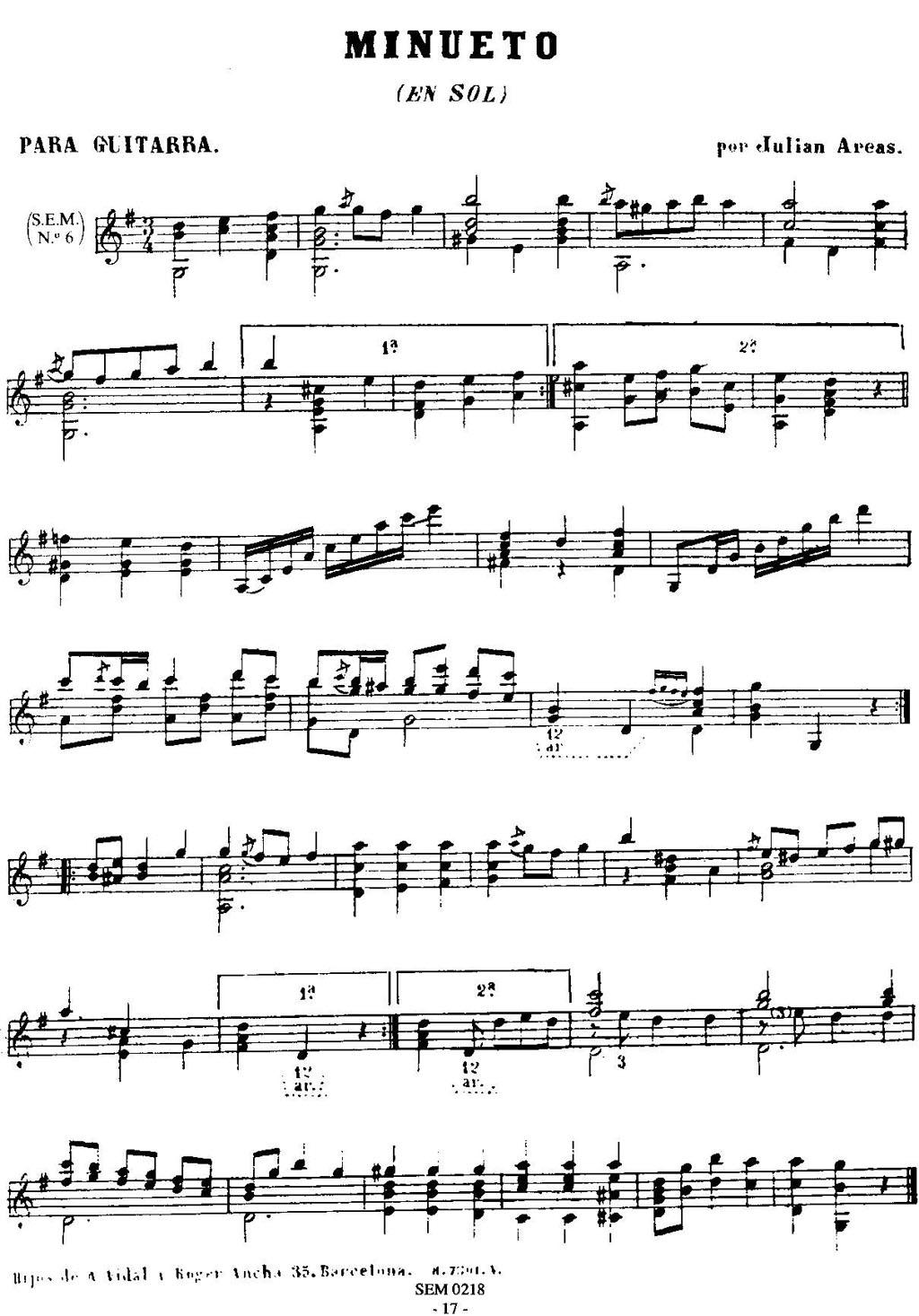 吉他曲谱 阅读次数:30 曲目名:minueto en sol 中文名:g大调小步舞曲